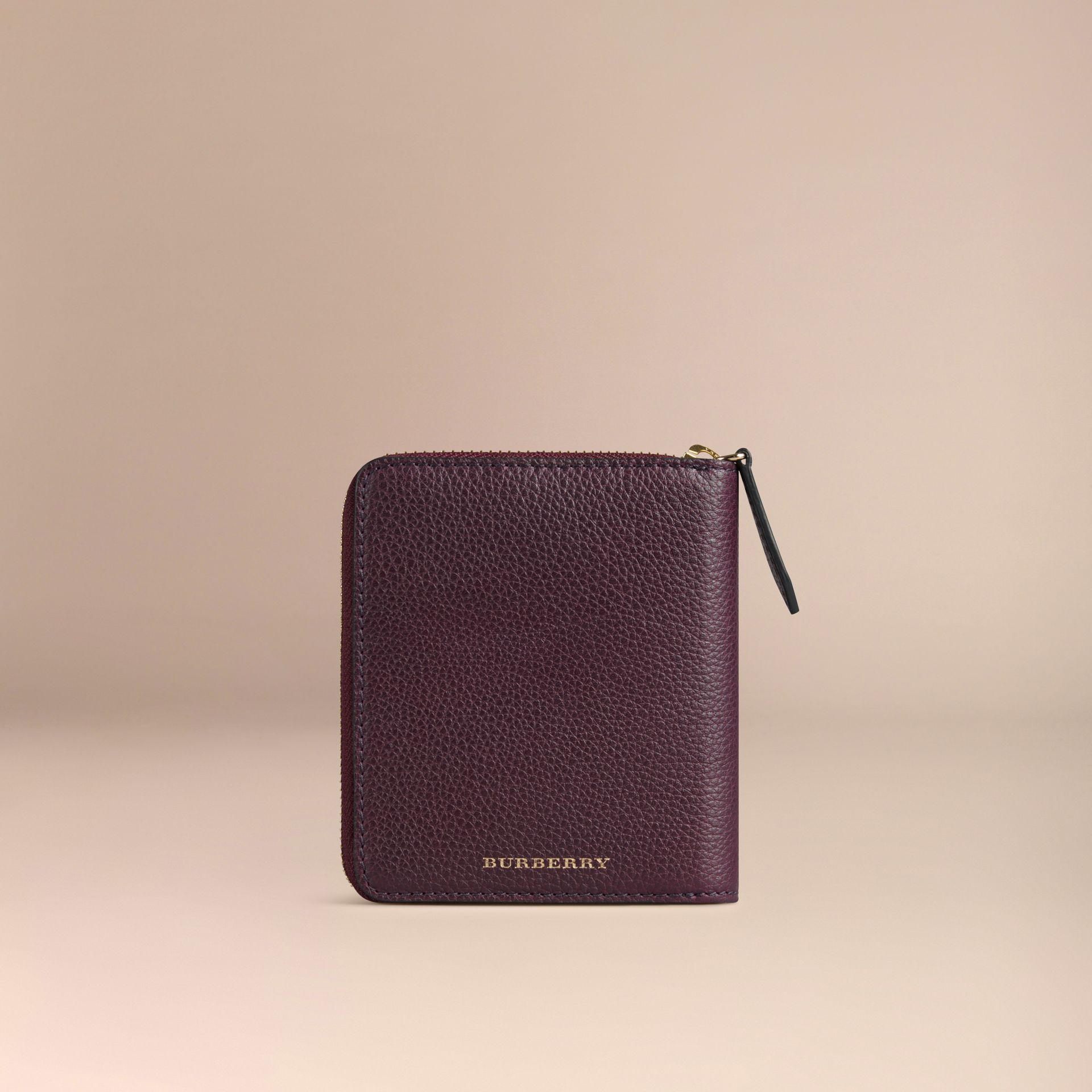 Ziparound Grainy Leather Mini Notebook in Dark Amethyst | Burberry Canada - gallery image 4