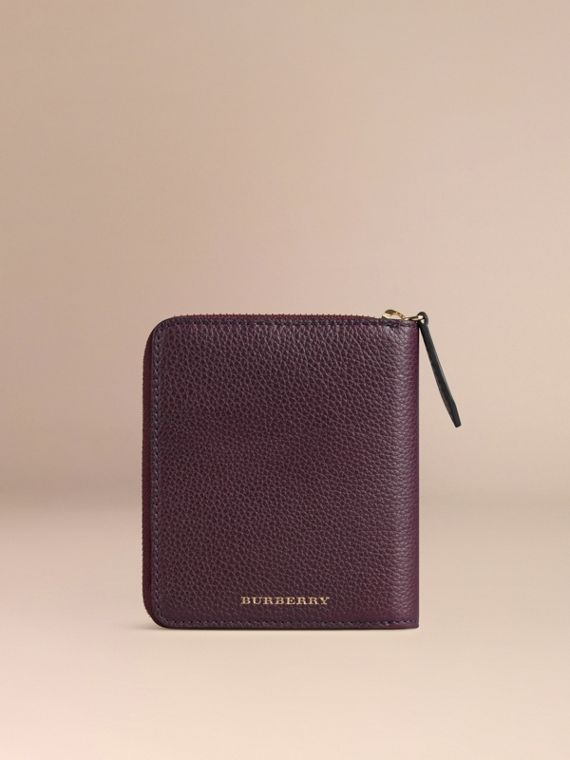 Ziparound Grainy Leather Mini Notebook in Dark Amethyst | Burberry Canada - cell image 3