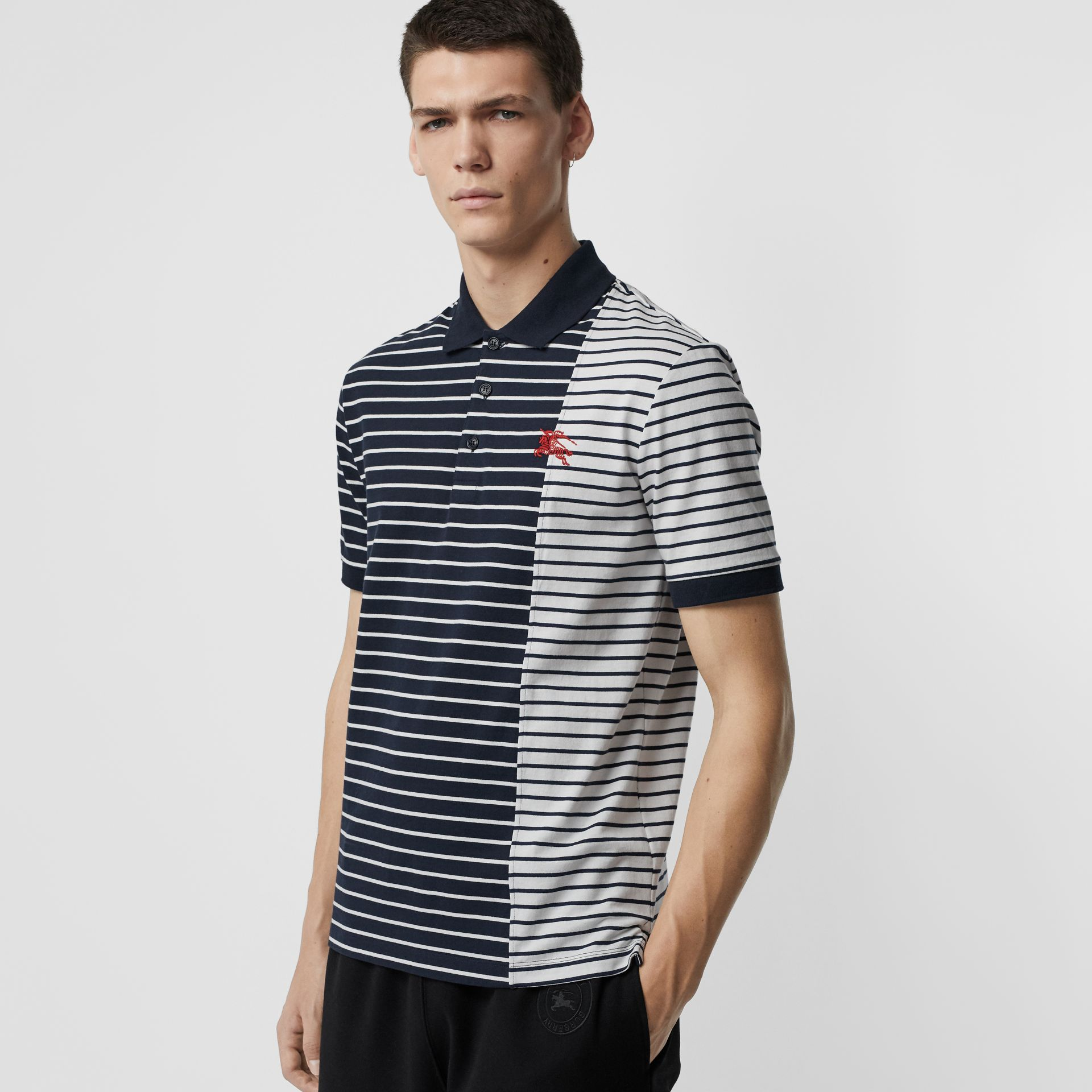 Contrast Stripe Cotton Polo Shirt in Bright Navy - Men | Burberry - gallery image 4