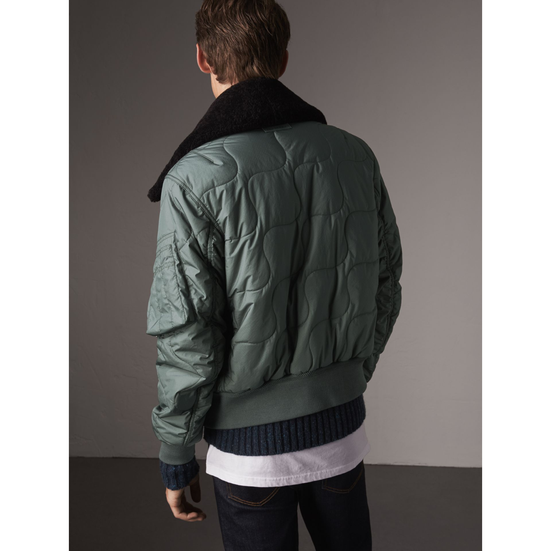 Shearling Collar Quilted Bomber Jacket in Smokey Green - Men | Burberry United Kingdom - gallery image 3