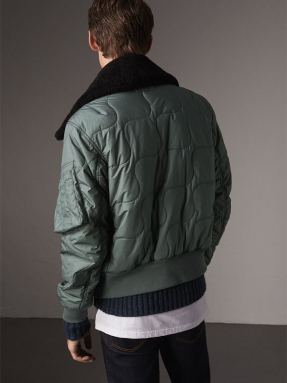 Shearling Collar Quilted Bomber Jacket in Smokey Green - Men | Burberry United States - cell image 2