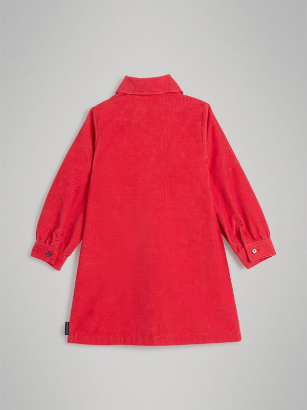 Corduroy Shirt Dress in Bright Orange Red - Girl | Burberry - cell image 3