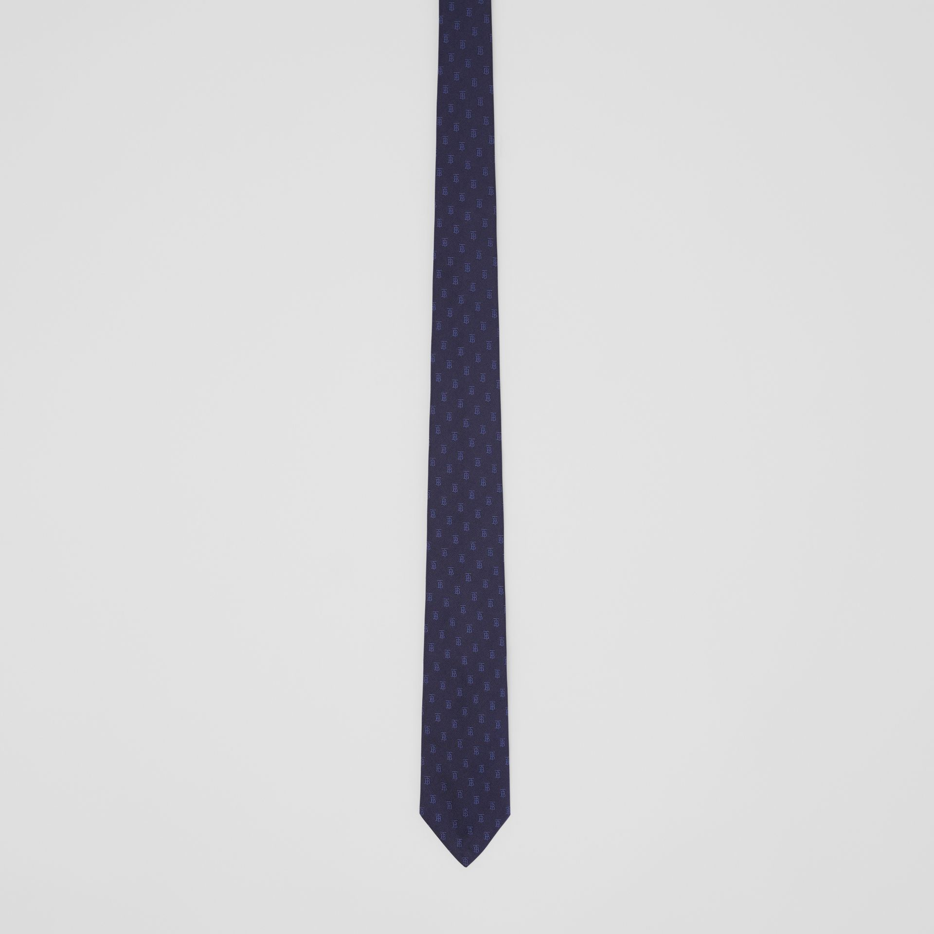 Classic Cut Monogram Motif Silk Jacquard Tie in Navy - Men | Burberry United Kingdom - gallery image 3