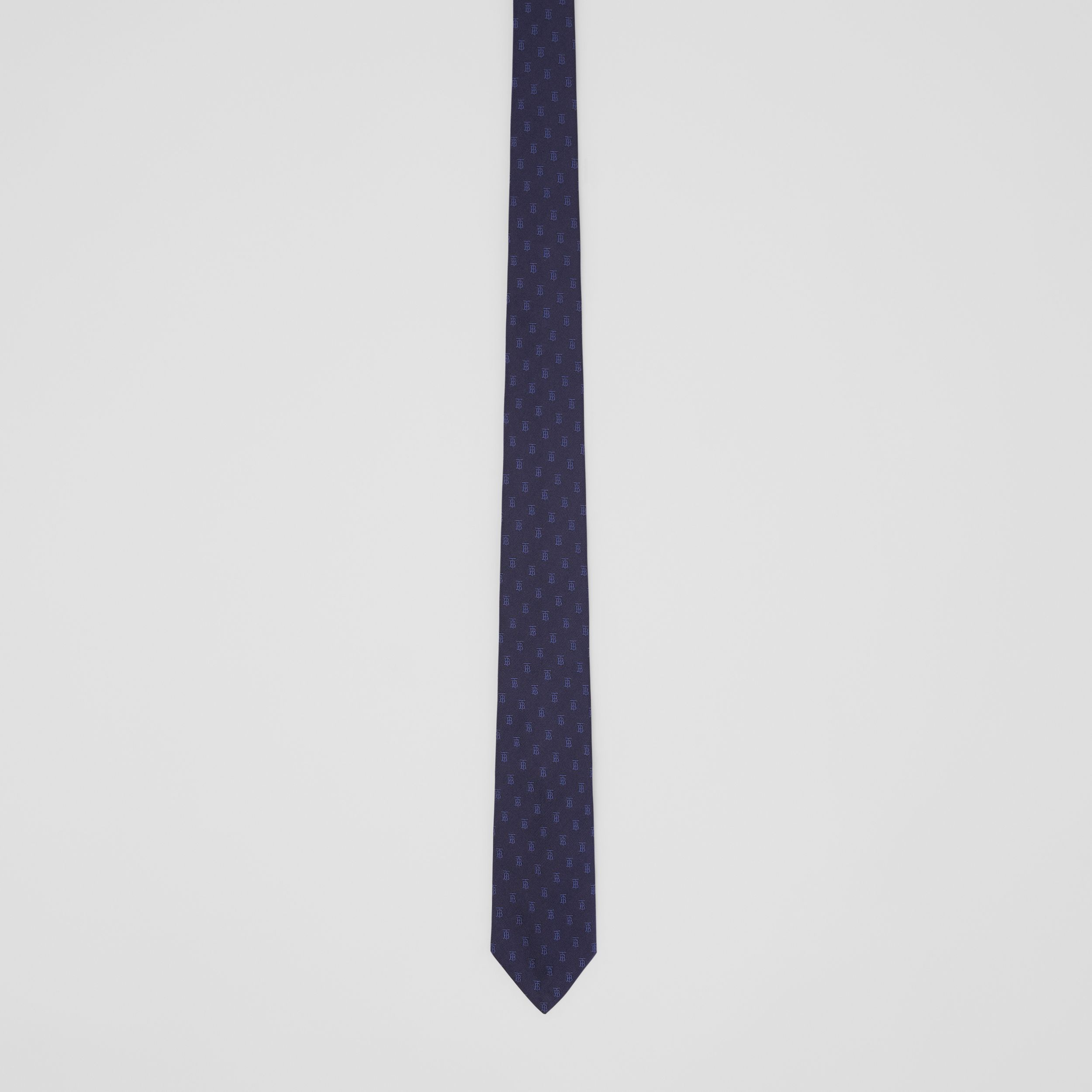 Classic Cut Monogram Motif Silk Jacquard Tie in Navy - Men | Burberry Canada - 4