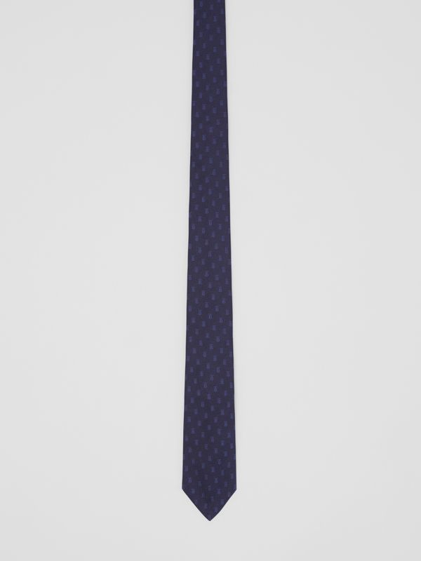 Classic Cut Monogram Motif Silk Jacquard Tie in Navy - Men | Burberry United Kingdom - cell image 3