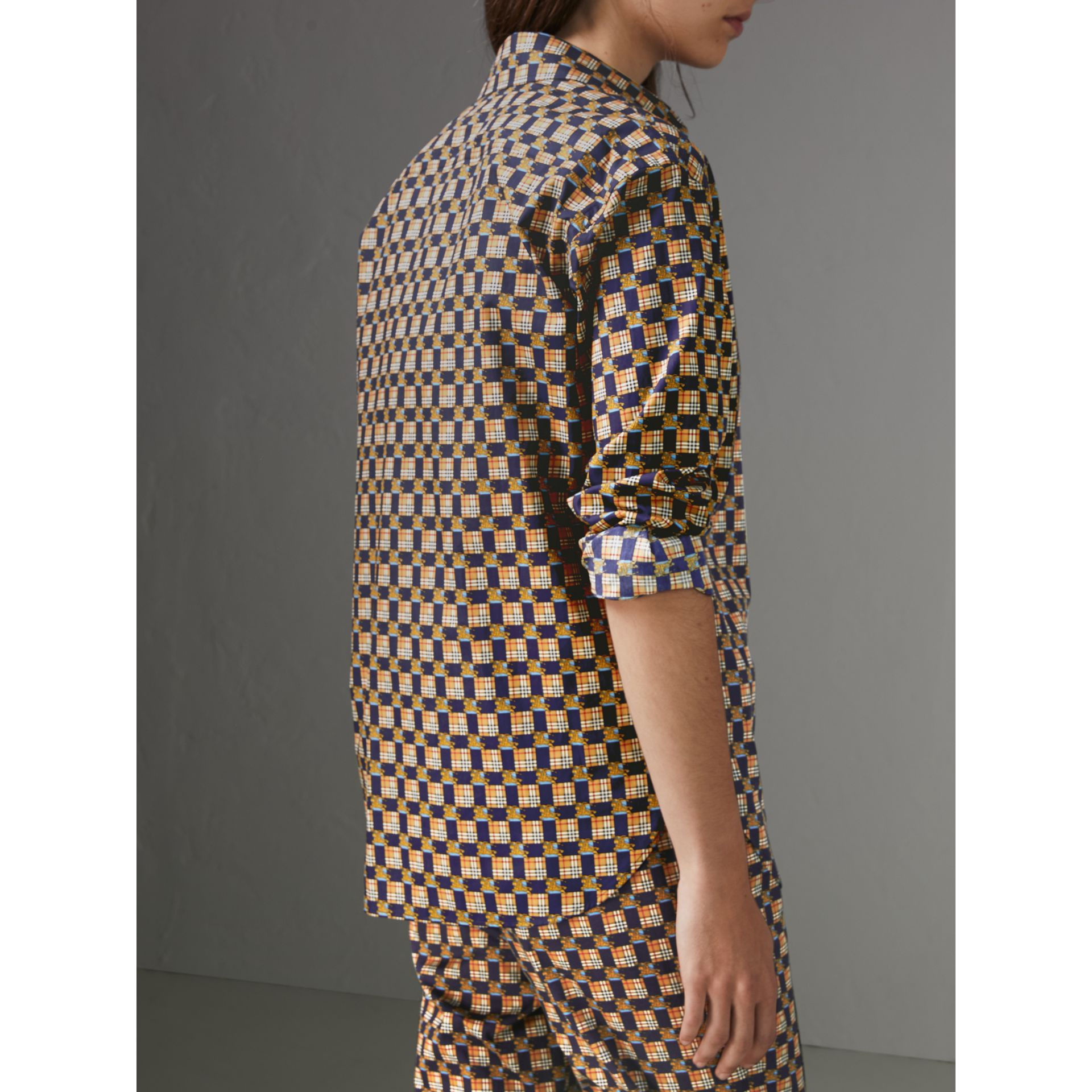 Tiled Archive Print Cotton Shirt in Navy - Women | Burberry - gallery image 2