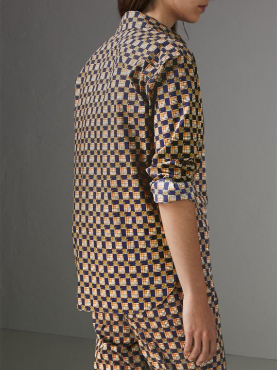 Tiled Archive Print Cotton Shirt in Navy - Women | Burberry United Kingdom - cell image 2