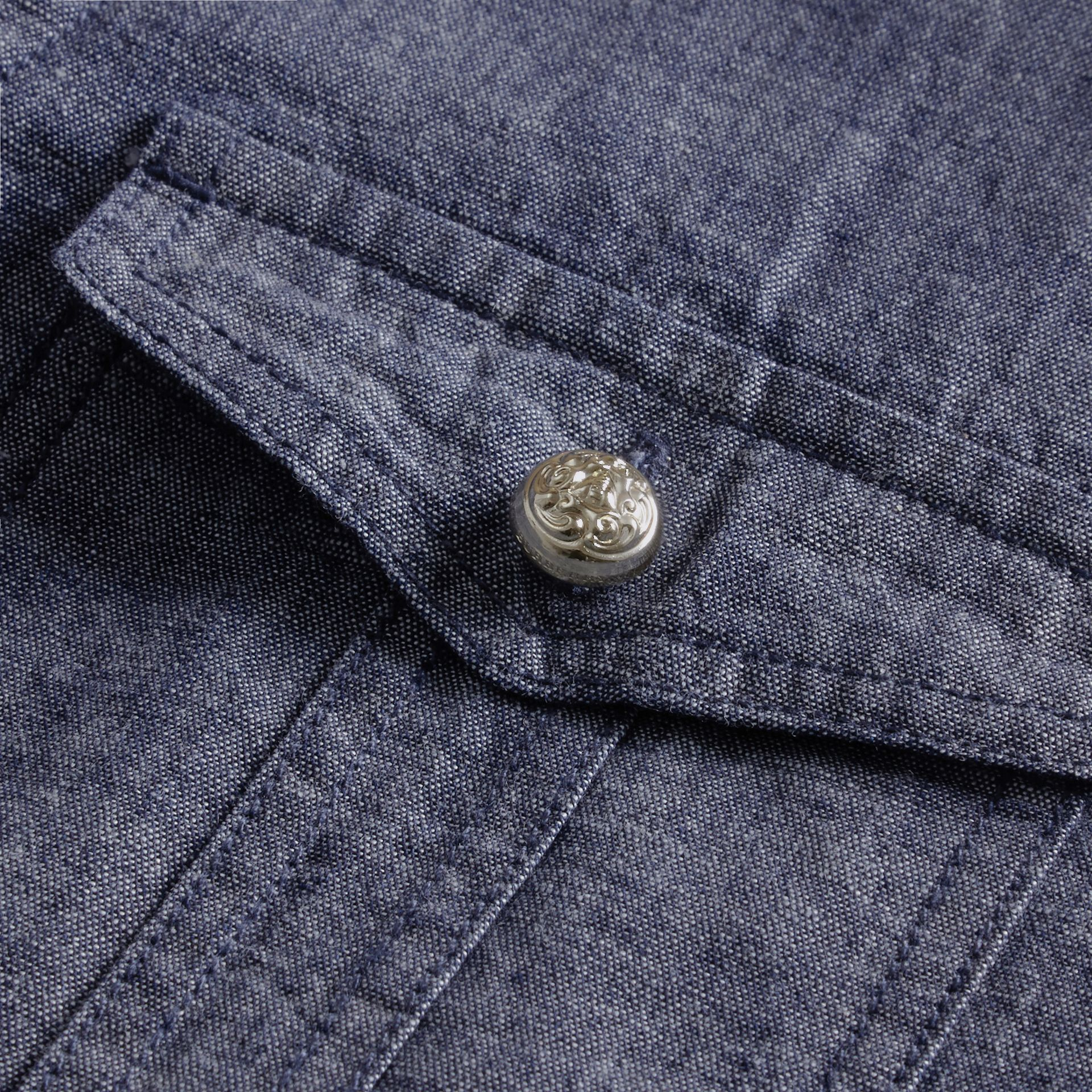 Light indigo Check Detail Denim Shirt - gallery image 2