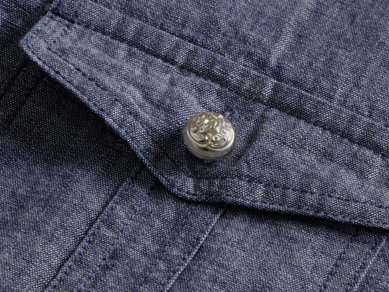 Check Detail Denim Shirt - cell image 1