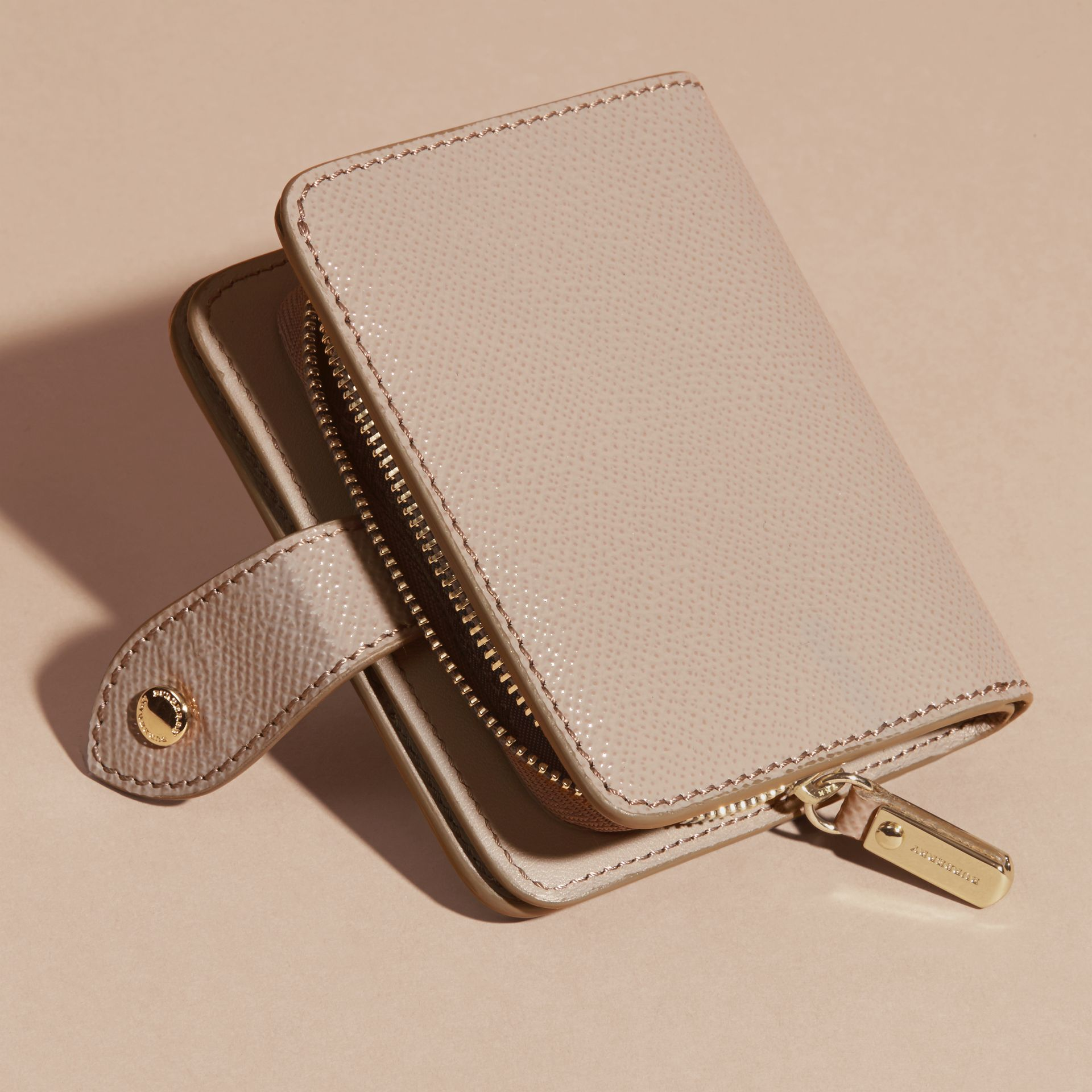 Pale grey Patent London Leather Wallet Pale Grey - gallery image 4
