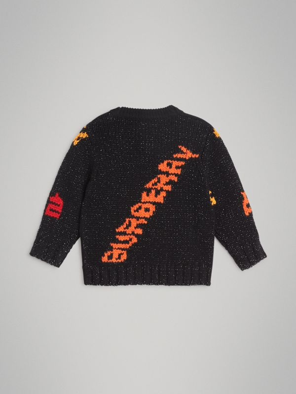 Rocket Detail Intarsia Cashmere Blend Sweater in Black - Children | Burberry Singapore - cell image 3