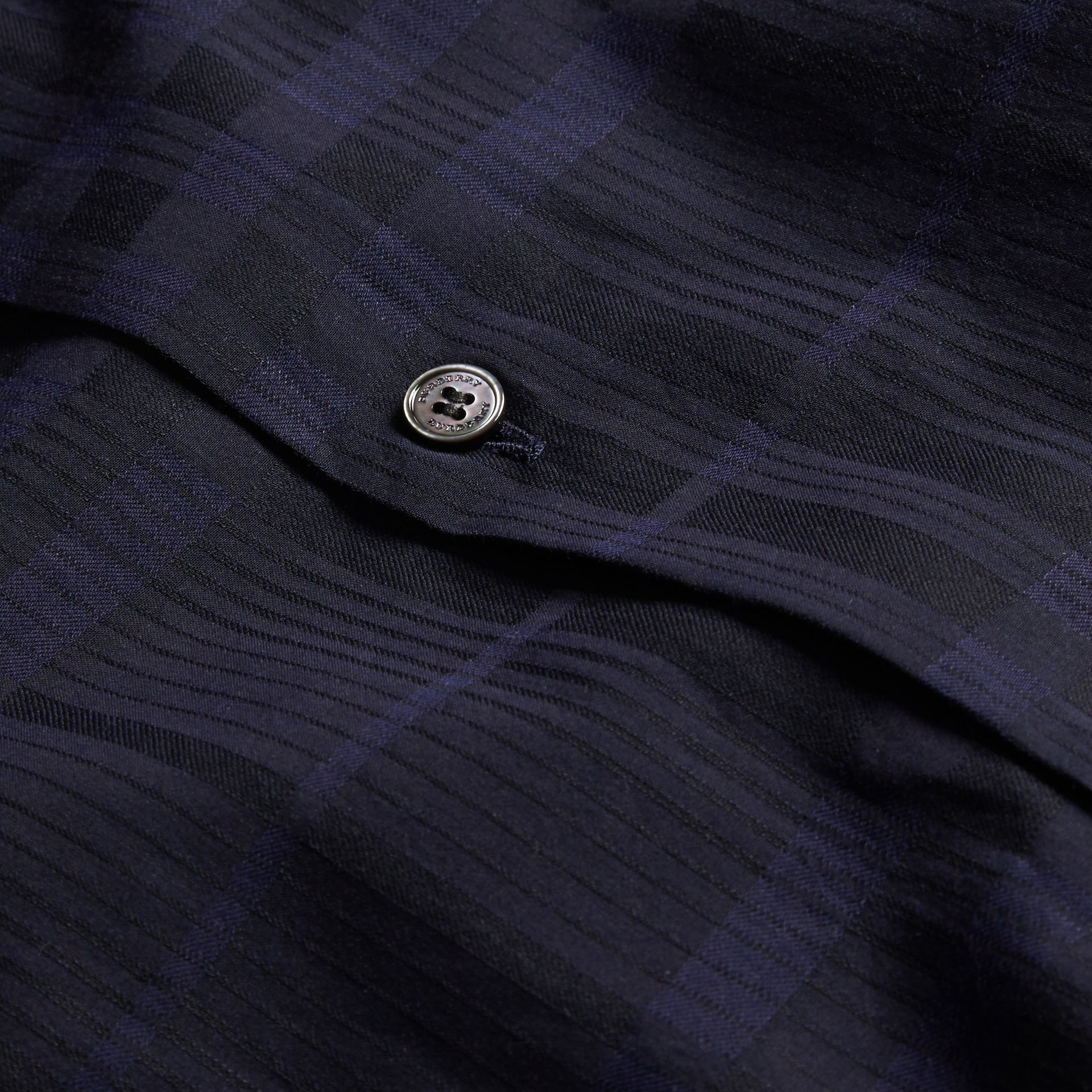 Navy Check Jacquard Cotton Shirt Navy - gallery image 2