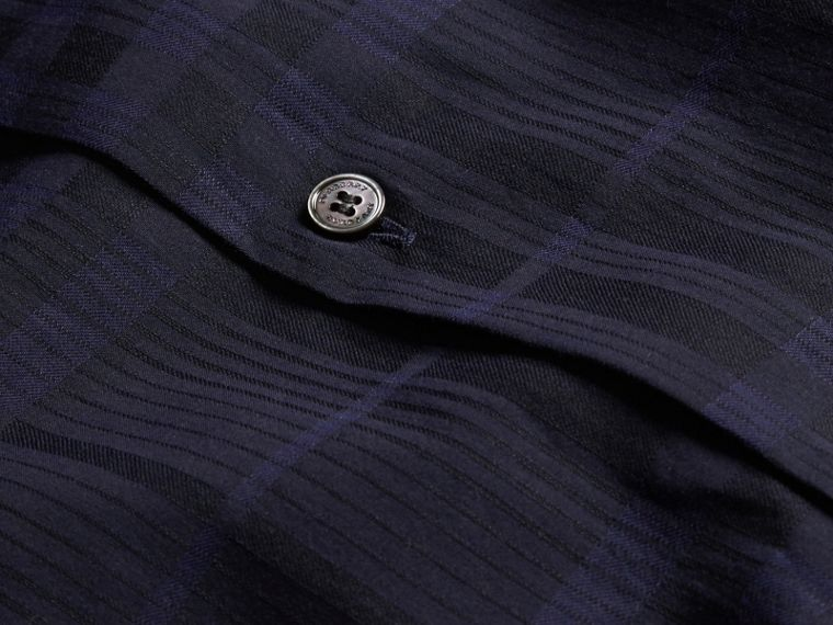 Navy Check Jacquard Cotton Shirt Navy - cell image 1
