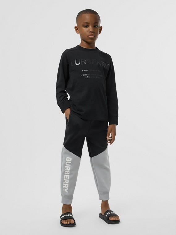 Camiseta de manga larga en algodón con estampado Horseferry (Negro)