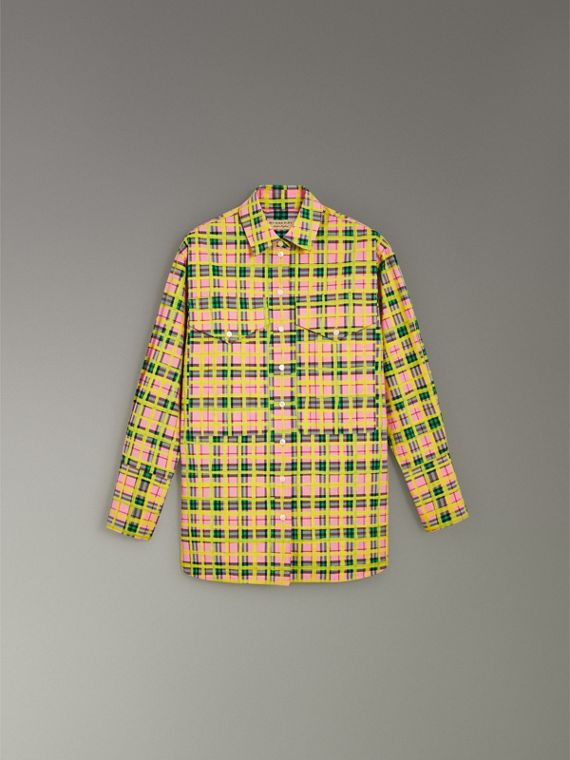 Painted Check Cotton Shirt in Bright Coral Pink - Women | Burberry Singapore - cell image 3