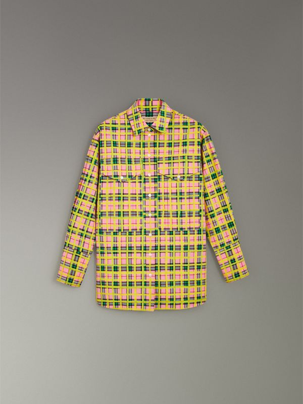 Painted Check Cotton Shirt in Bright Coral Pink - Women | Burberry - cell image 3
