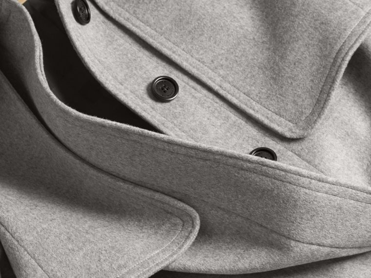 Pale grey melange Wool Cashmere Trench Coat with Oversize Detailing - cell image 1