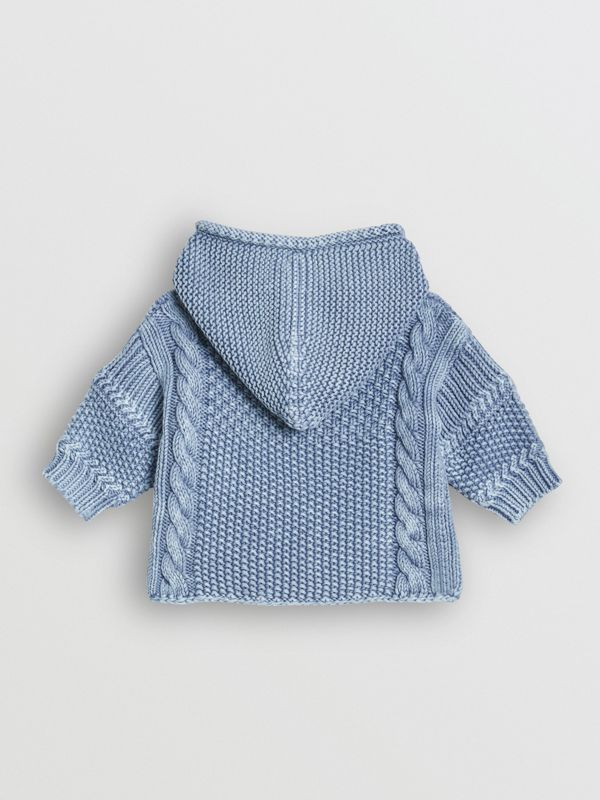 Contrast Knit Cotton Hooded Jacket in Dusty Blue - Children | Burberry - cell image 3