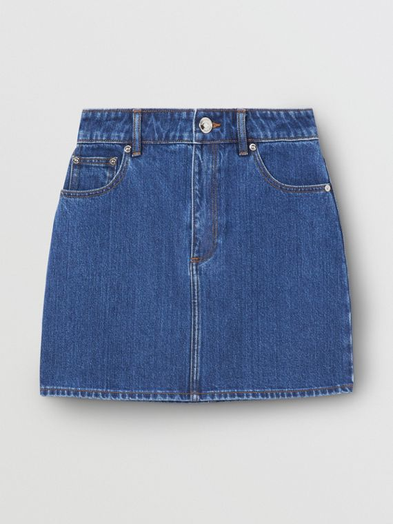 Deer Motif Japanese Denim Mini Skirt in Mid Blue