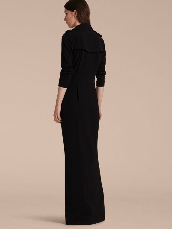 Floor-length Satin-back Crepe Trench Dress - cell image 2