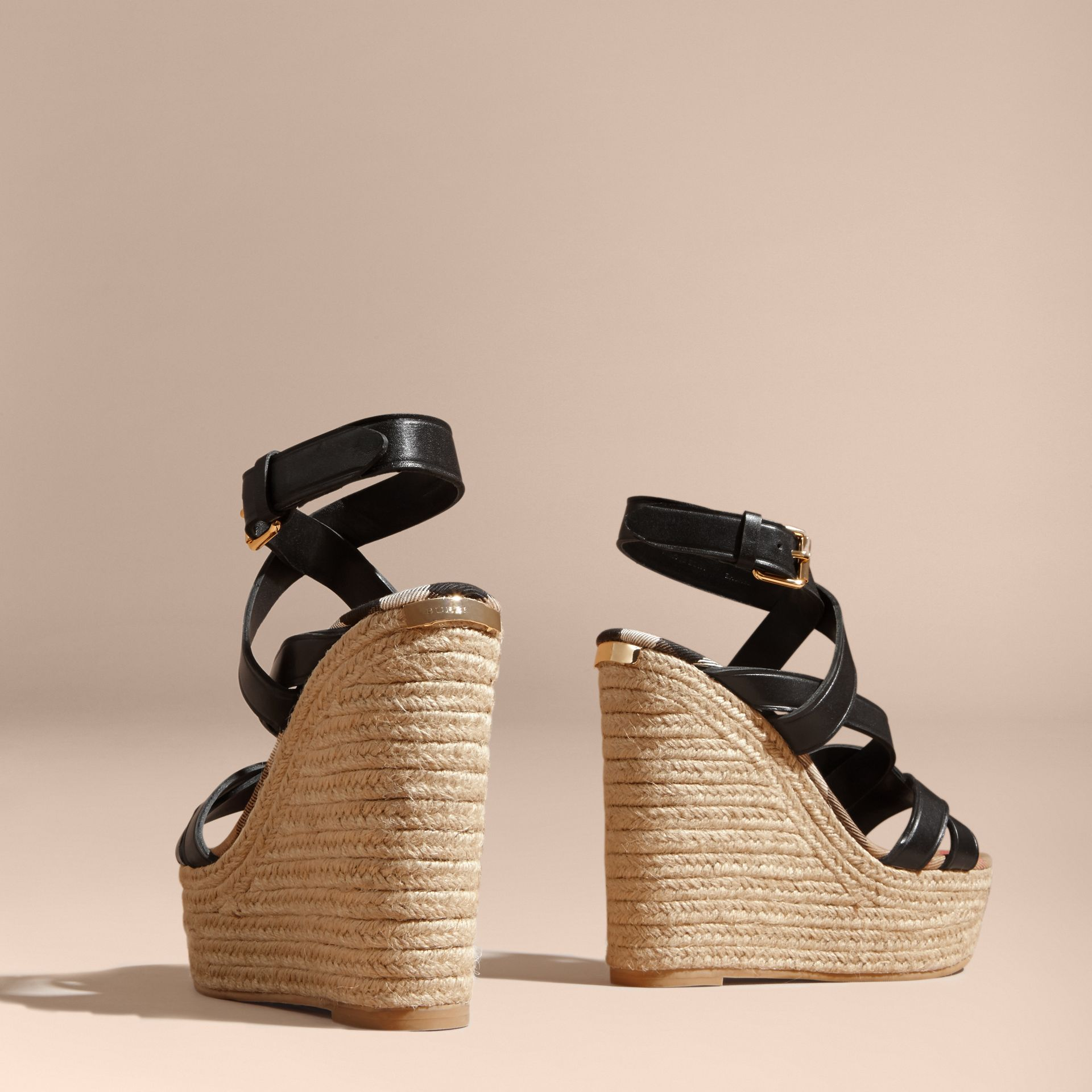 Leather Platform Espadrille Wedge Sandals - gallery image 5