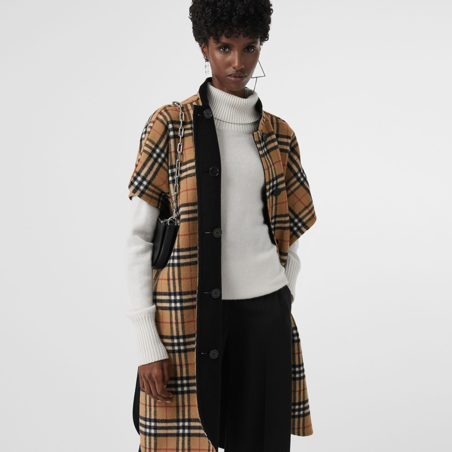 Reversible Vintage Check Poncho in Black - Women | Burberry - gallery image 4