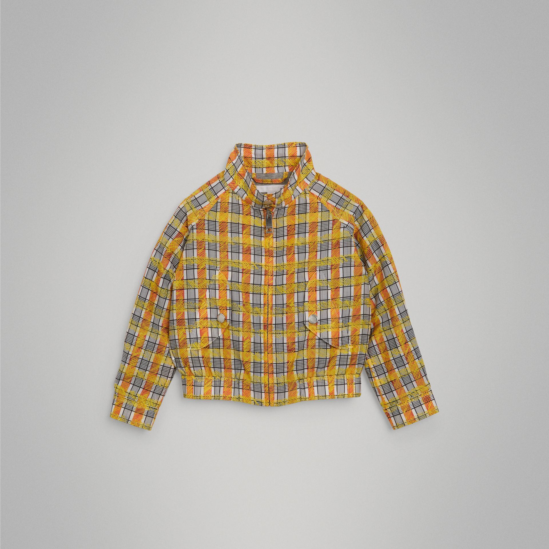 Scribble Check Cotton Silk Harrington Jacket in Bright Yellow | Burberry - gallery image 0