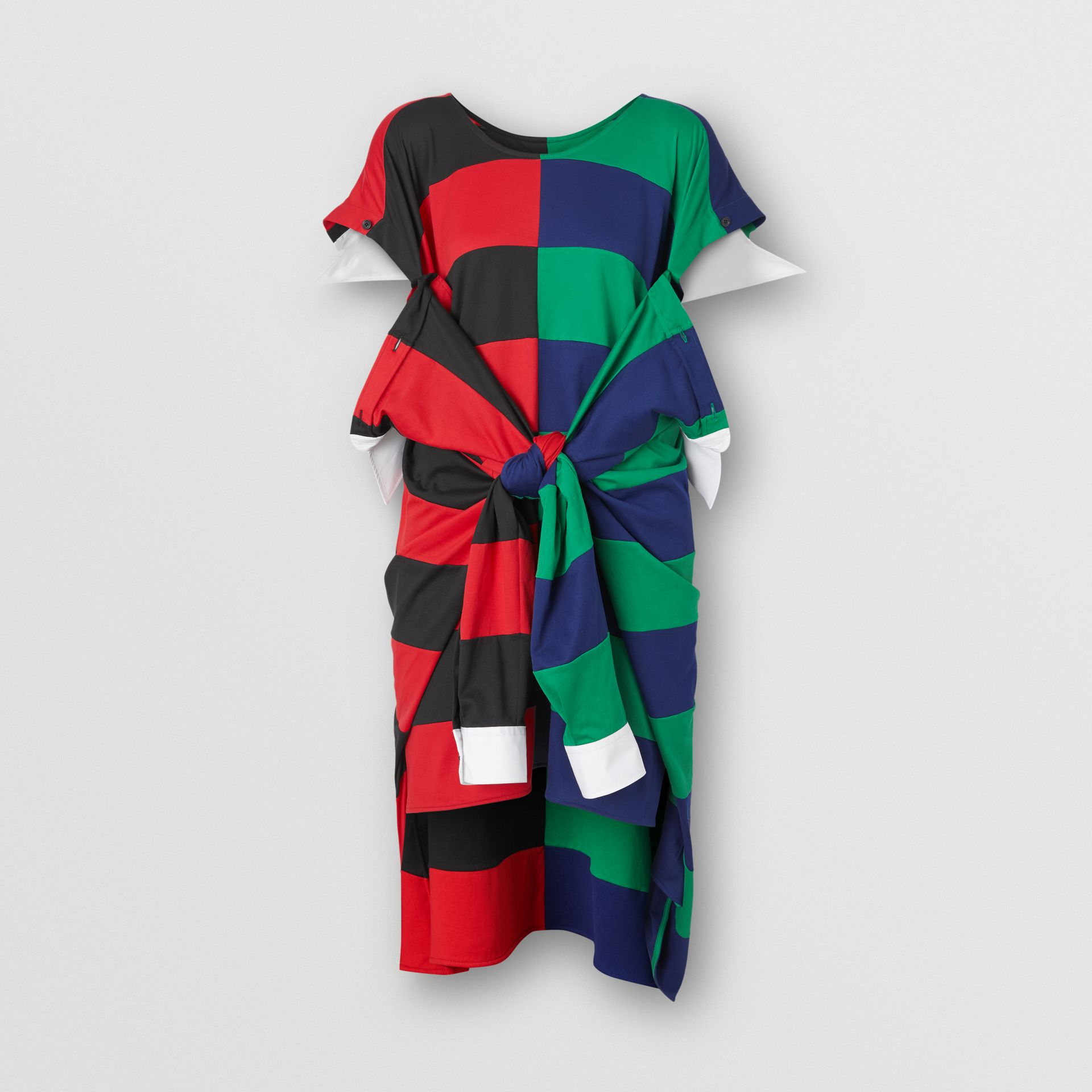 Striped Cotton Reconstructed Rugby Shirt Dress in Bright Red - Women | Burberry United States - gallery image 3