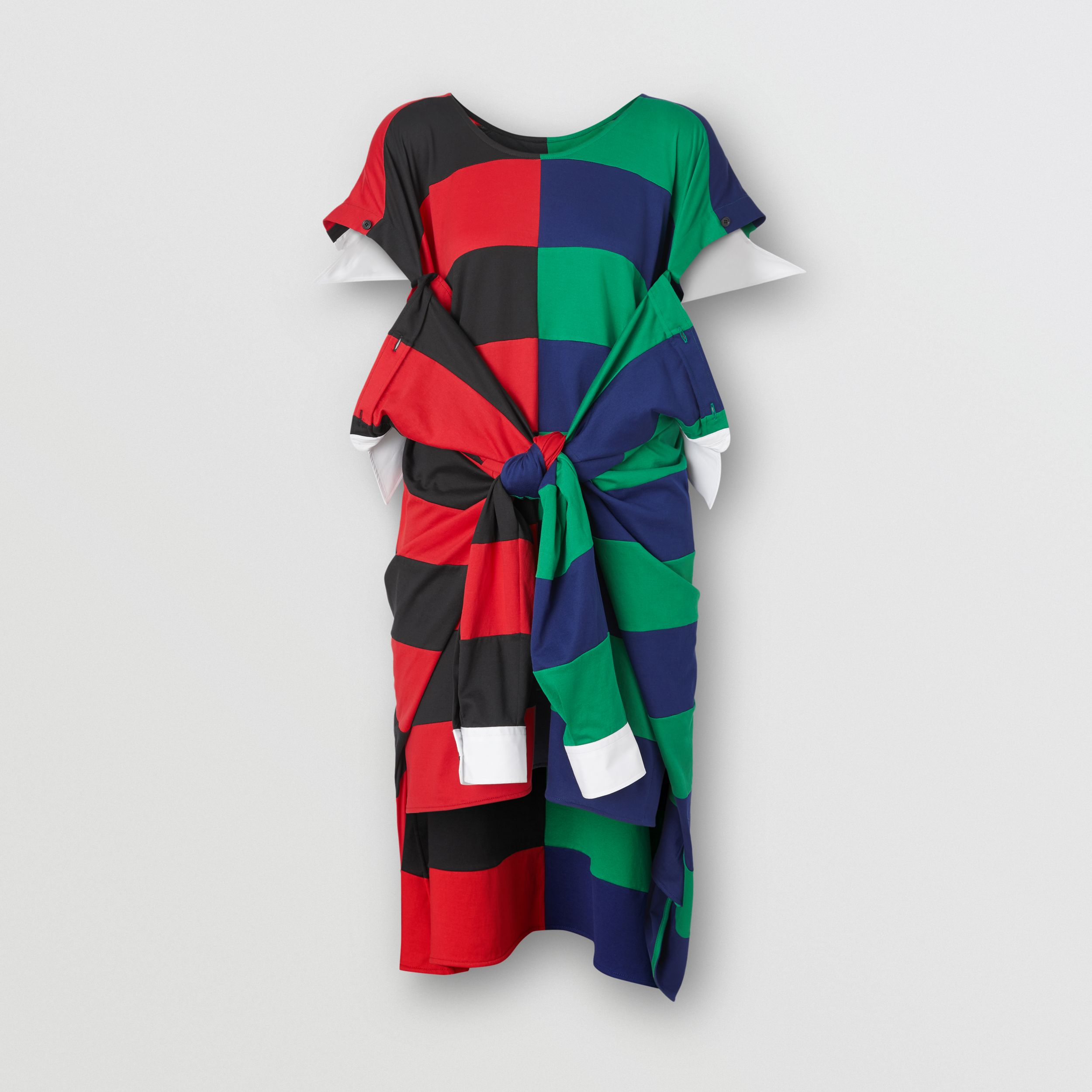 Striped Cotton Reconstructed Rugby Shirt Dress in Bright Red - Women | Burberry - 4