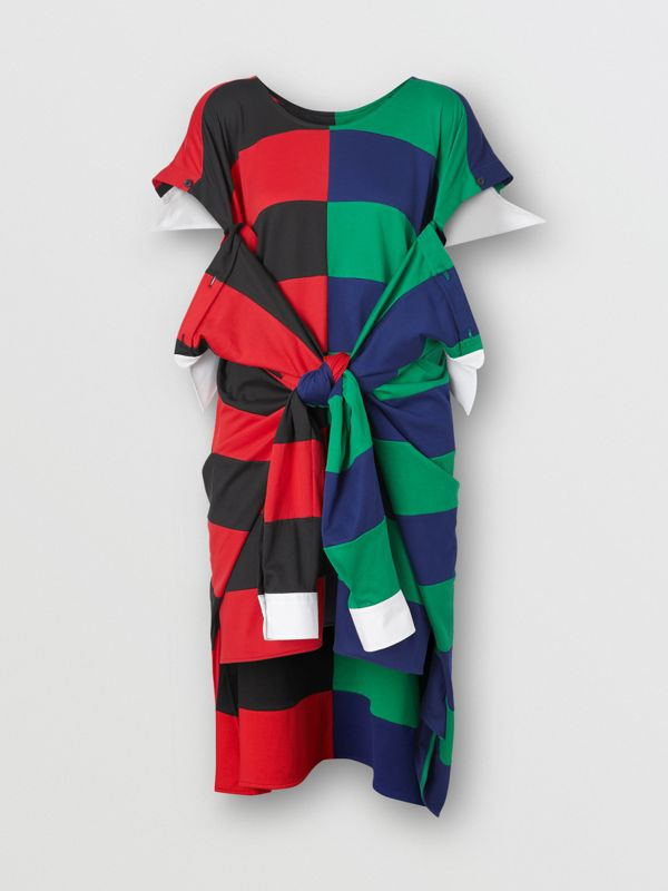 Striped Cotton Reconstructed Rugby Shirt Dress in Bright Red - Women | Burberry - cell image 3