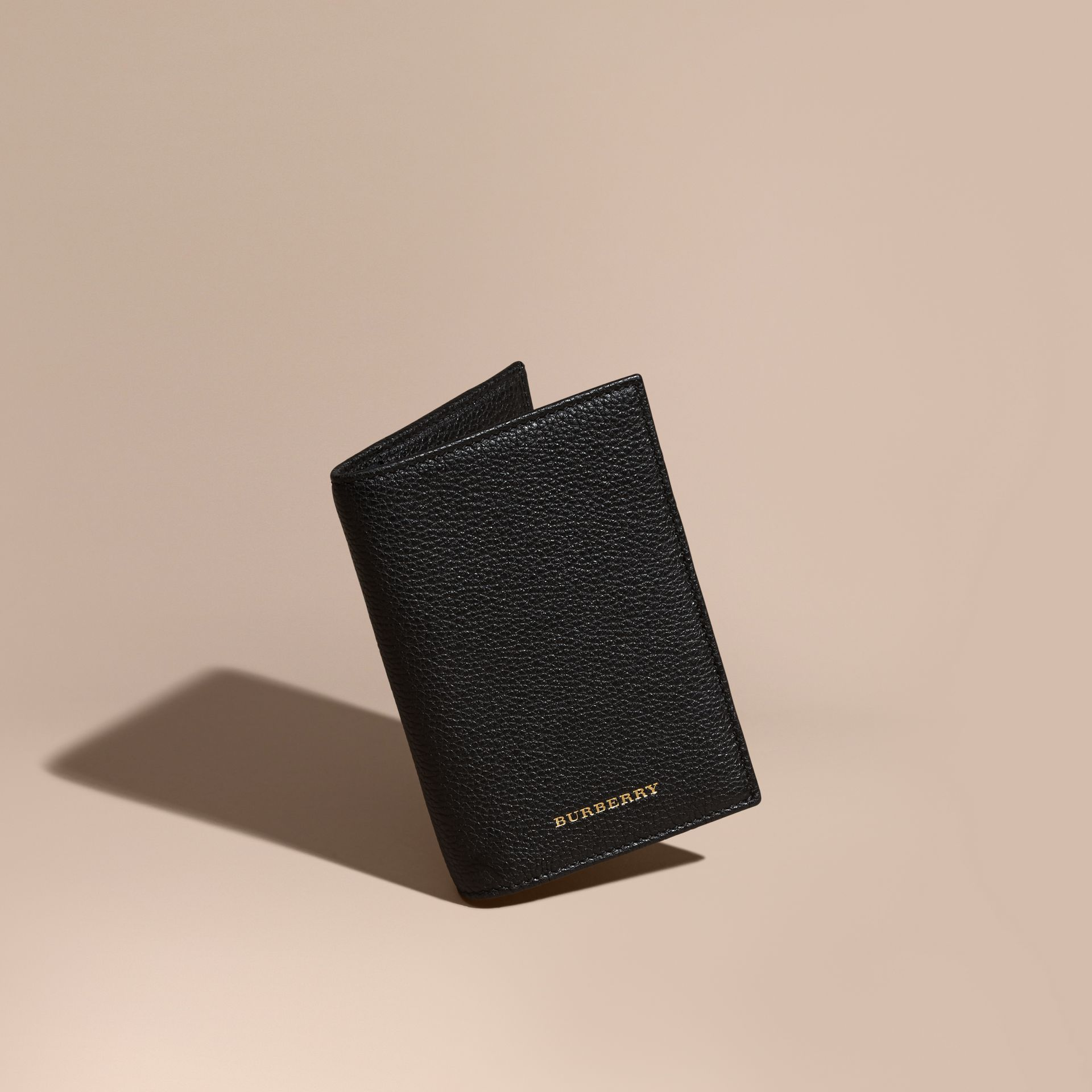 Black Grainy Leather Passport and Card Holder Black - gallery image 1