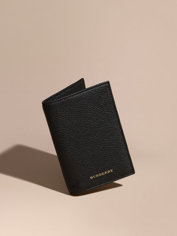 Grainy Leather Passport and Card Holder Black