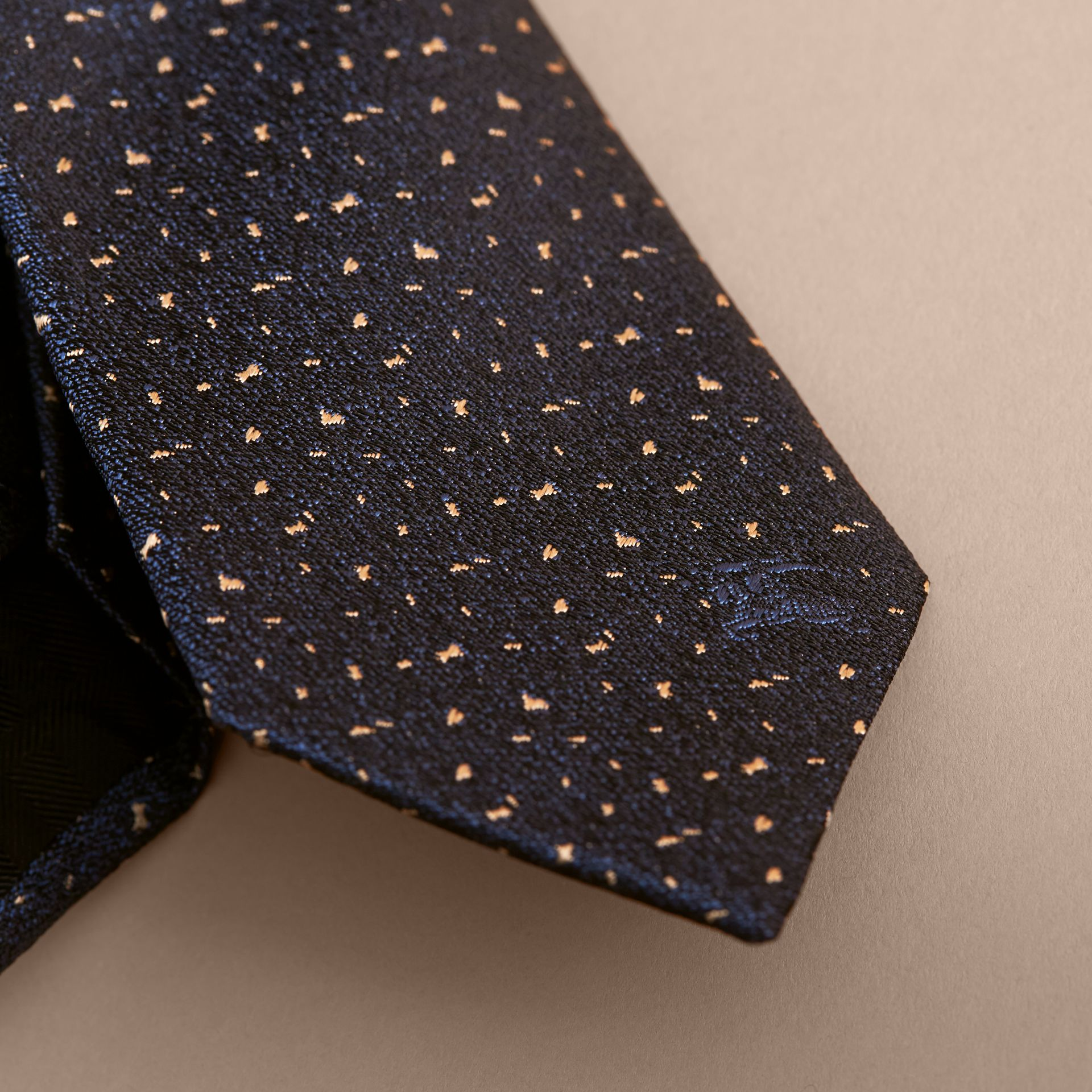 Slim Cut Flecked Silk Tie in Dark Lapis Blue - Men | Burberry - gallery image 2