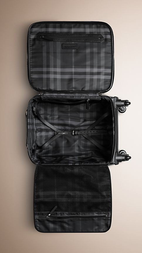 Black London Leather Four-Wheel Suitcase - Image 5