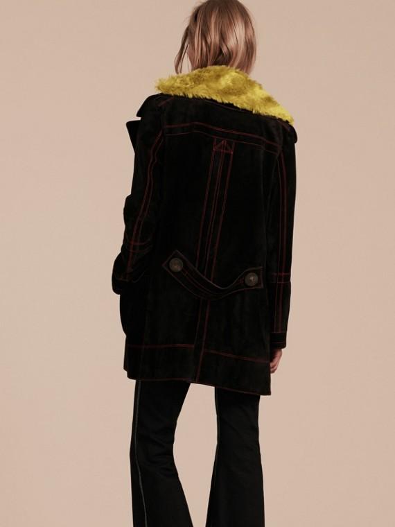 Preto Pea coat de camurça com colarinho de shearling - cell image 2