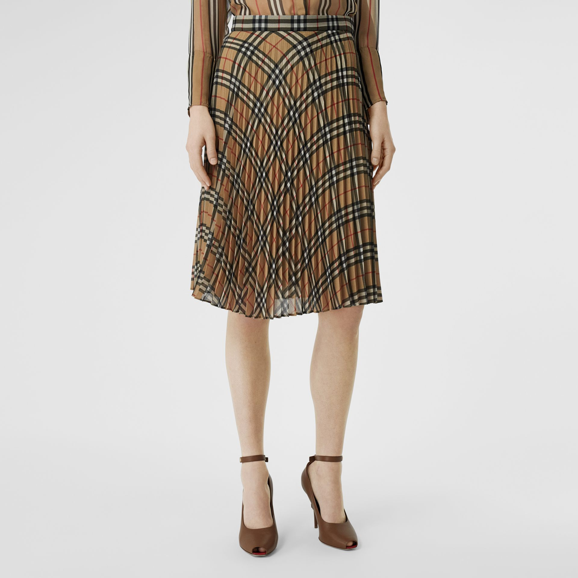 Vintage Check Chiffon Pleated Skirt in Archive Beige - Women | Burberry - gallery image 4