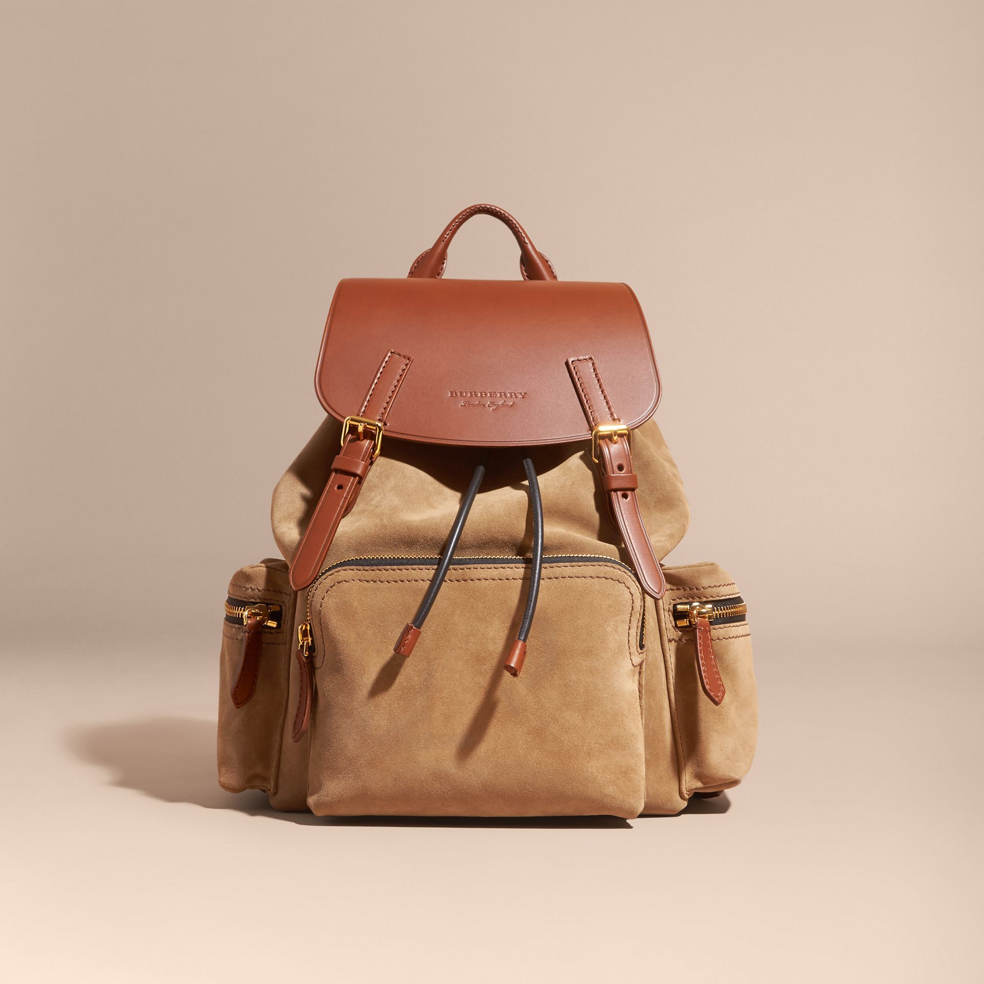 Tan The Large Rucksack in Suede and Bridle Leather - gallery image 8