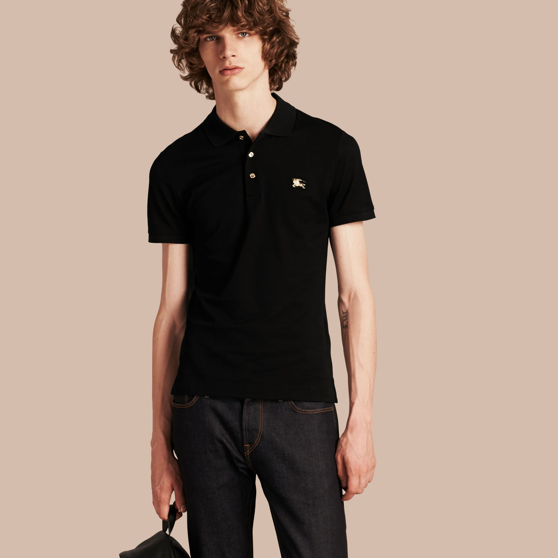 Fitted Mercerised Cotton-Piqué Polo Shirt Black - gallery image 1