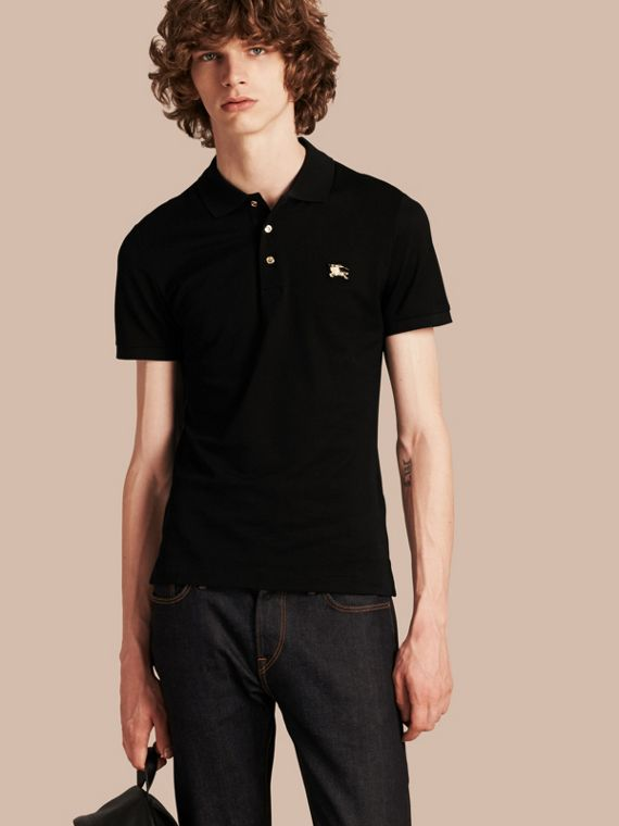 Fitted Mercerised Cotton-Piqué Polo Shirt Black