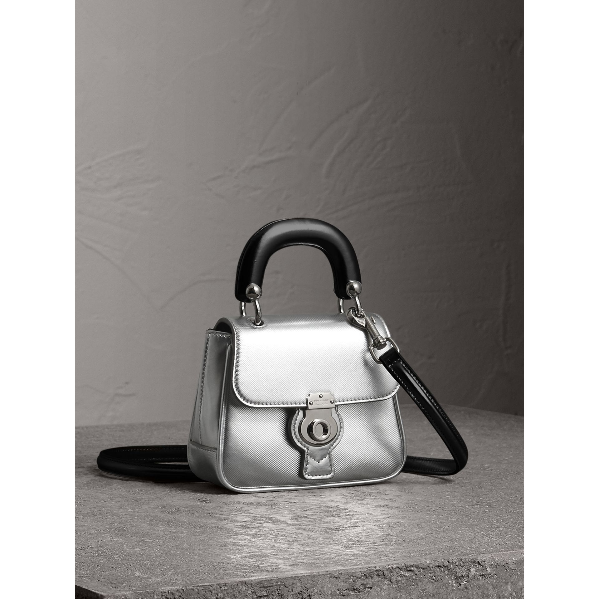 The Mini DK88 Top Handle Bag in Metallic Leather in Silver - Women | Burberry Canada - gallery image 6