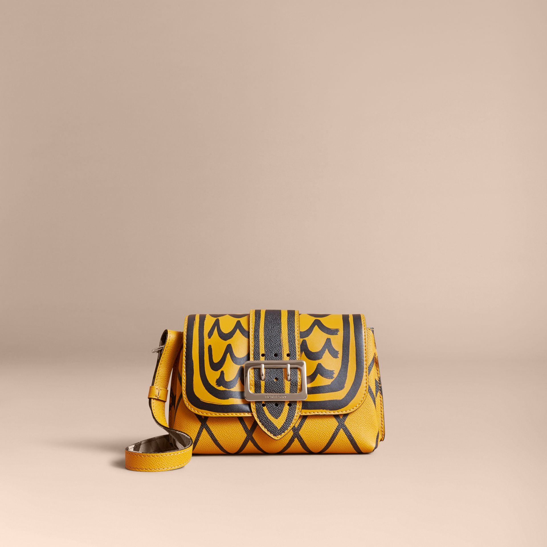 The Buckle Crossbody Bag in Trompe L'oeil Leather in Bright Straw - gallery image 7