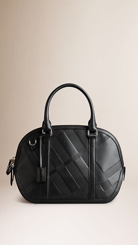 Black The Small Orchard in Embossed Check Leather - Image 1