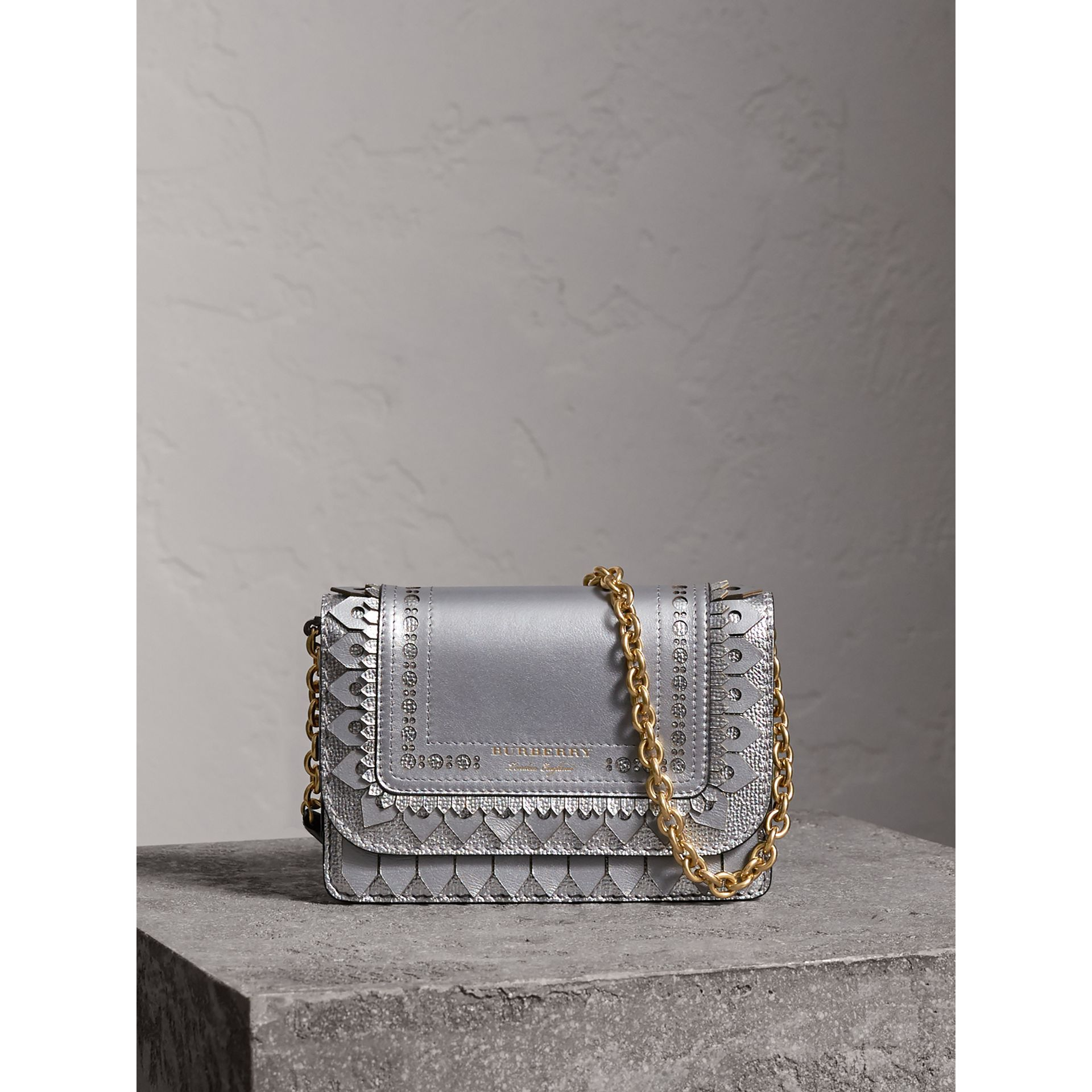 Brogue Detail Metallic Leather Wallet with Detachable Strap in Silver - Women | Burberry - gallery image 1