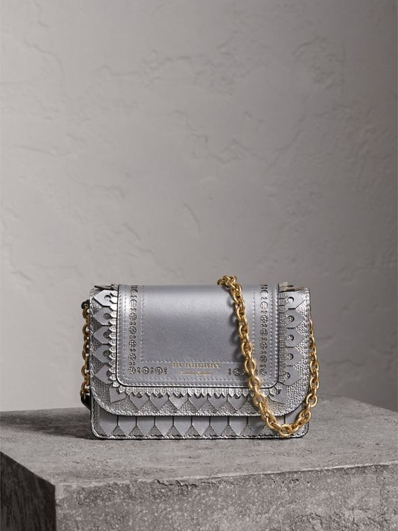 Brogue Detail Metallic Leather Wallet with Detachable Strap in Silver
