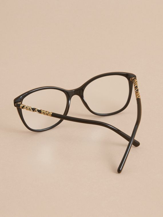 Check Detail Round Optical Frames Black - cell image 3