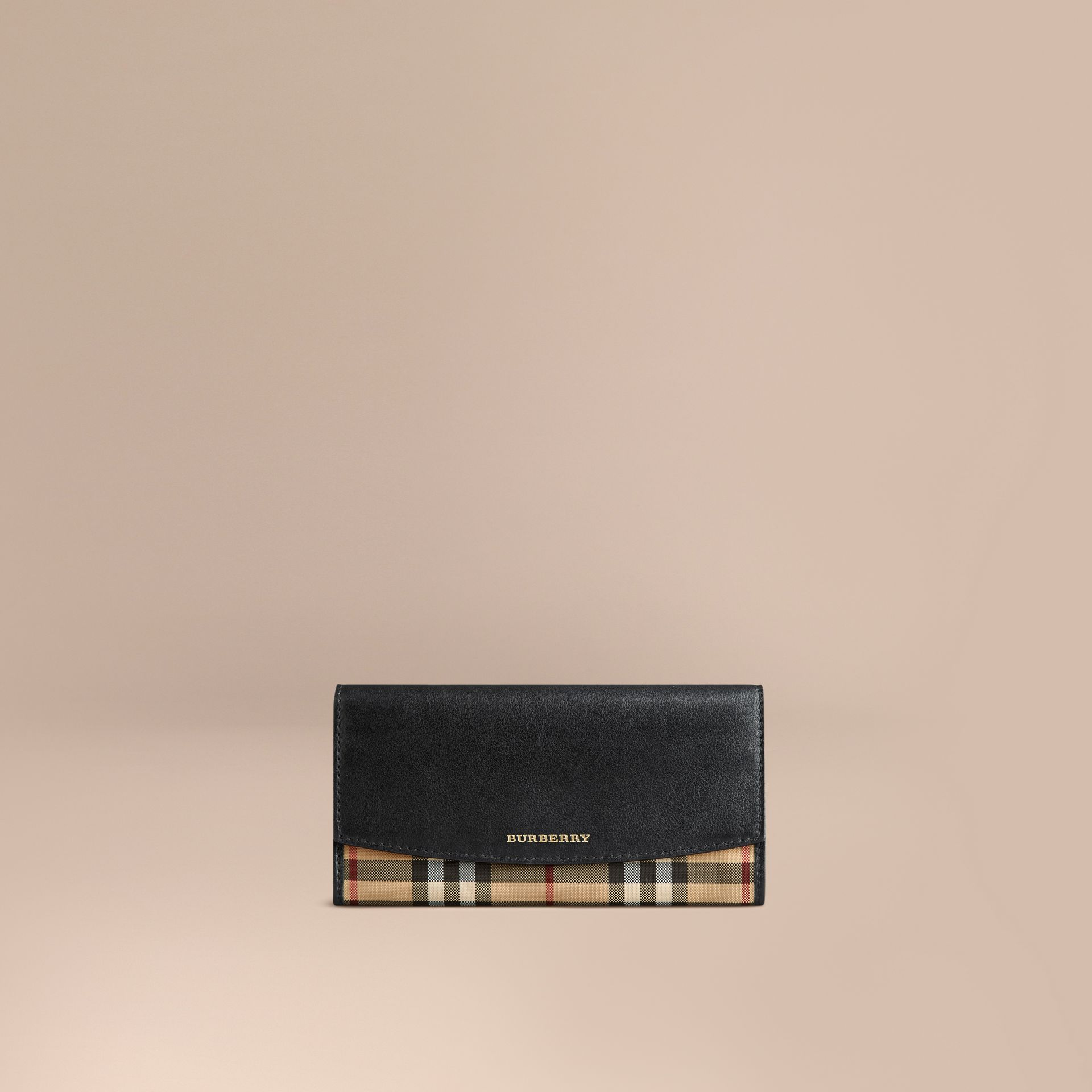 Horseferry Check and Leather Continental Wallet in Black - Women | Burberry - gallery image 1
