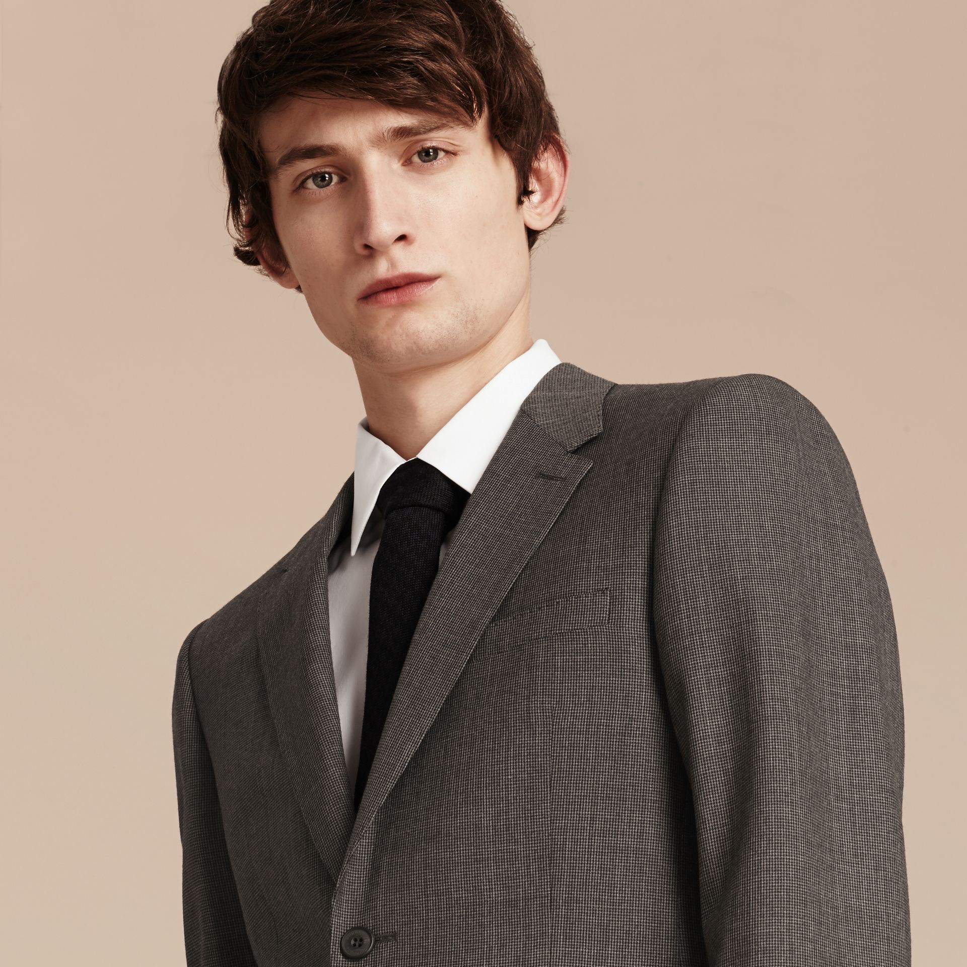 Mid grey melange Modern Fit Wool Cashmere Microcheck Part-canvas Suit - gallery image 7