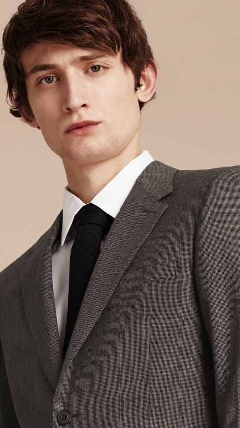 Mid grey melange Modern Fit Wool Cashmere Microcheck Part-canvas Suit - Image 7