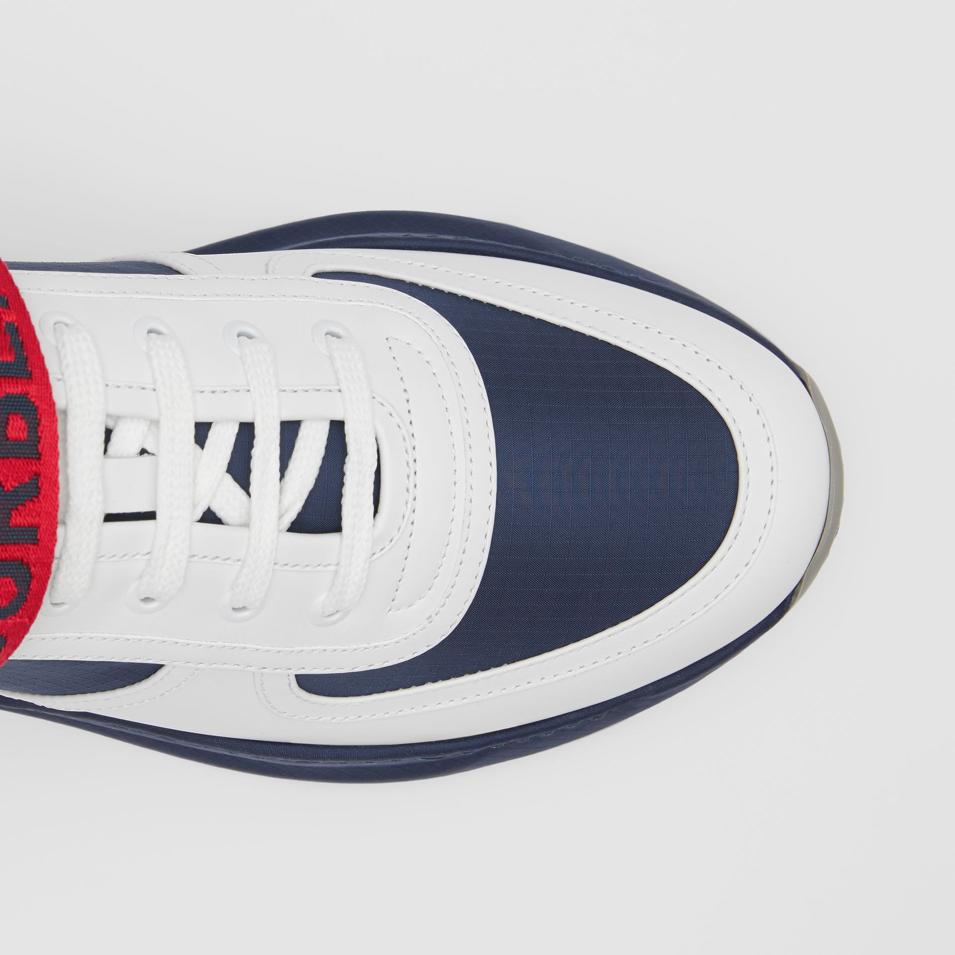 Logo Detail Leather and Suede Sneakers in Navy - Men | Burberry Canada - gallery image 1