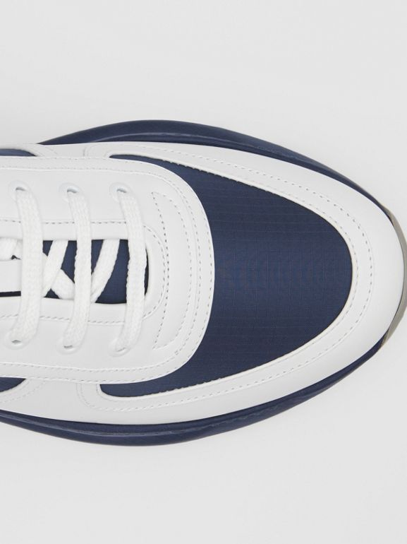 Logo Detail Leather and Suede Sneakers in Navy - Men | Burberry Canada - cell image 1